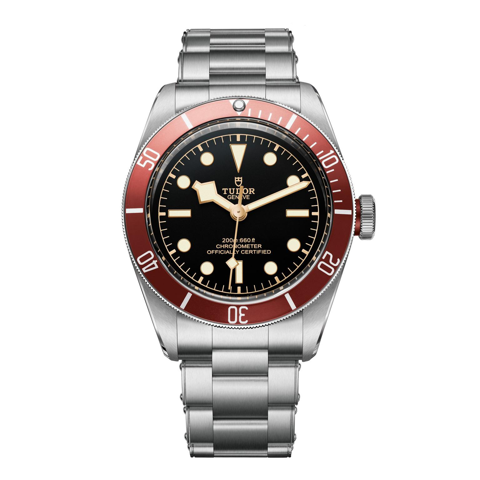 Tudor Heritage Black Bay watch with stainless steel bracelet