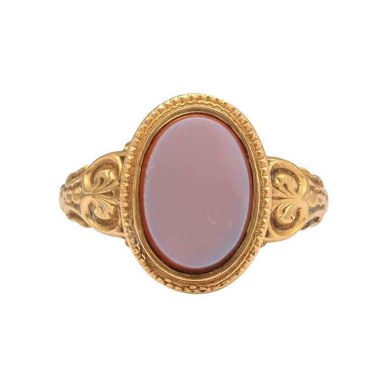 Marie E Betteley ring set with oval agate