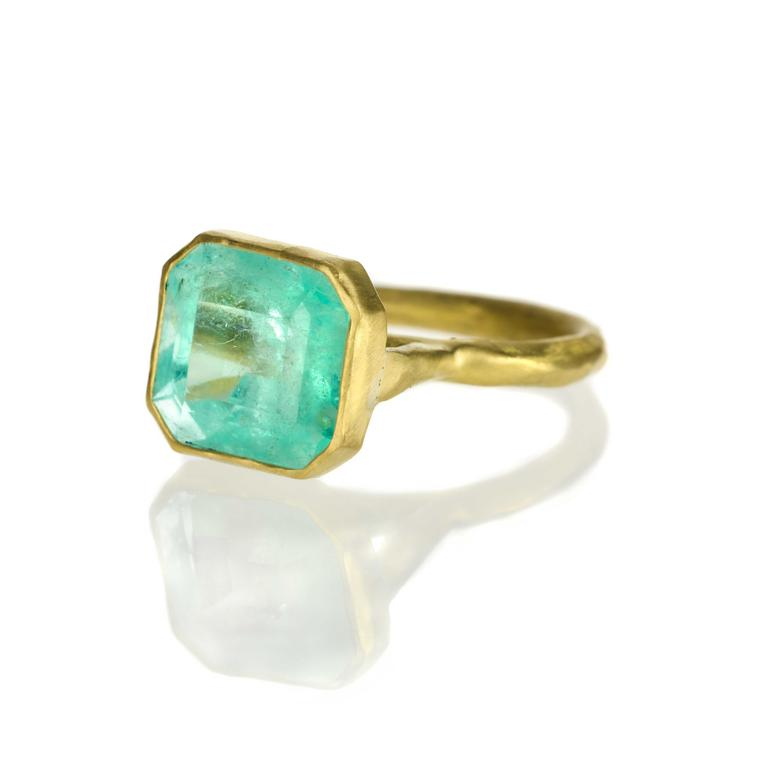 Rubover-settings Margery Hirschey Emerald ring