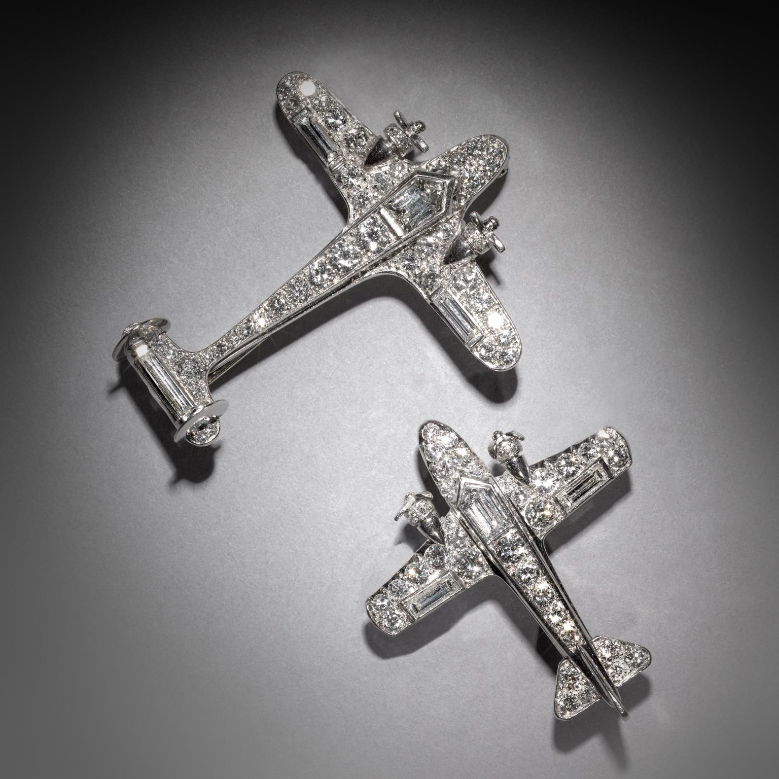 Neil Lane Platinum diamond airplane brooch, signed Cartier