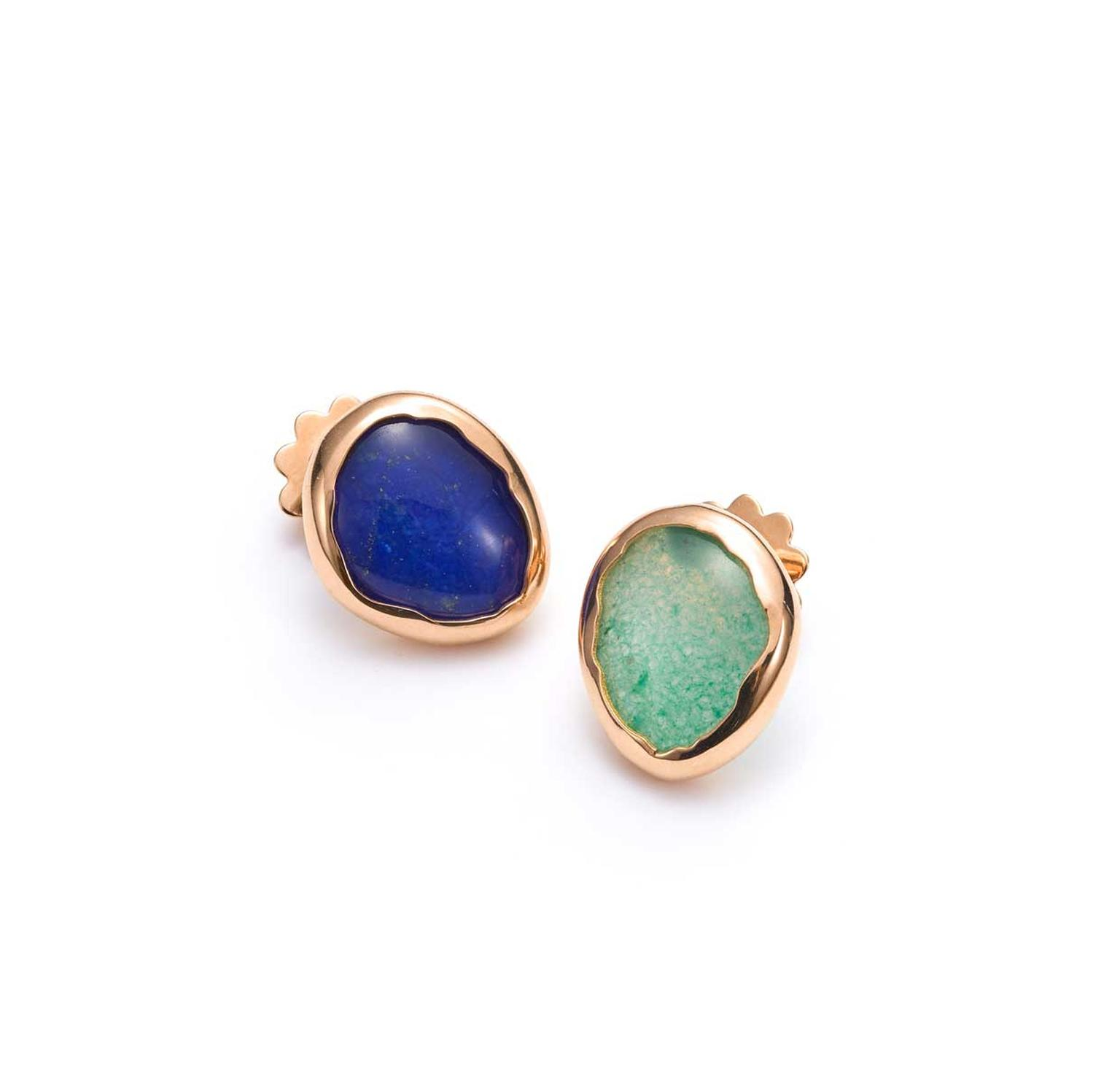 Rubover settings mismatched lapis lazuli earrings by Mattioli Nuvole