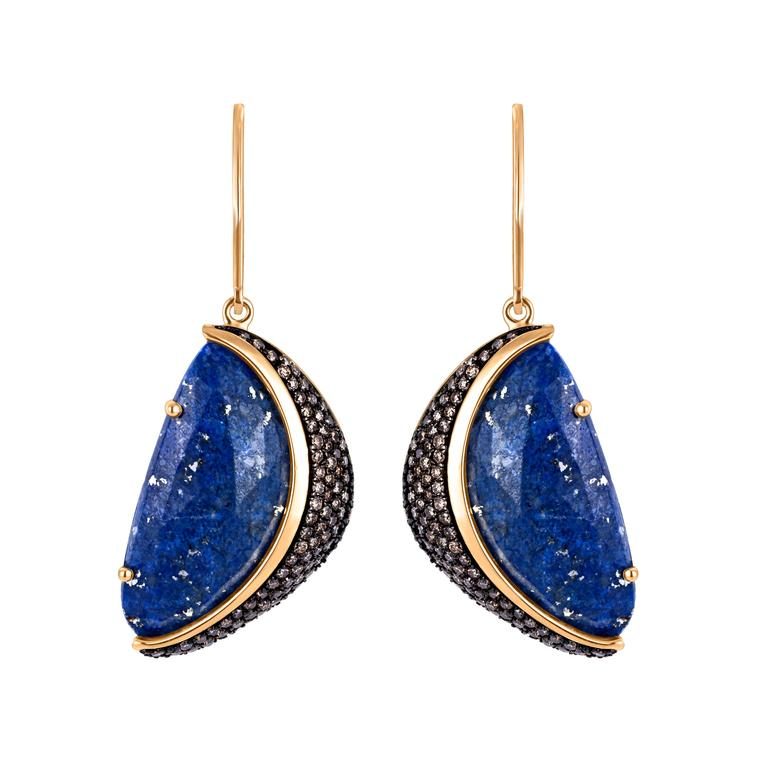 Arya Esha lapis and diamond earrings