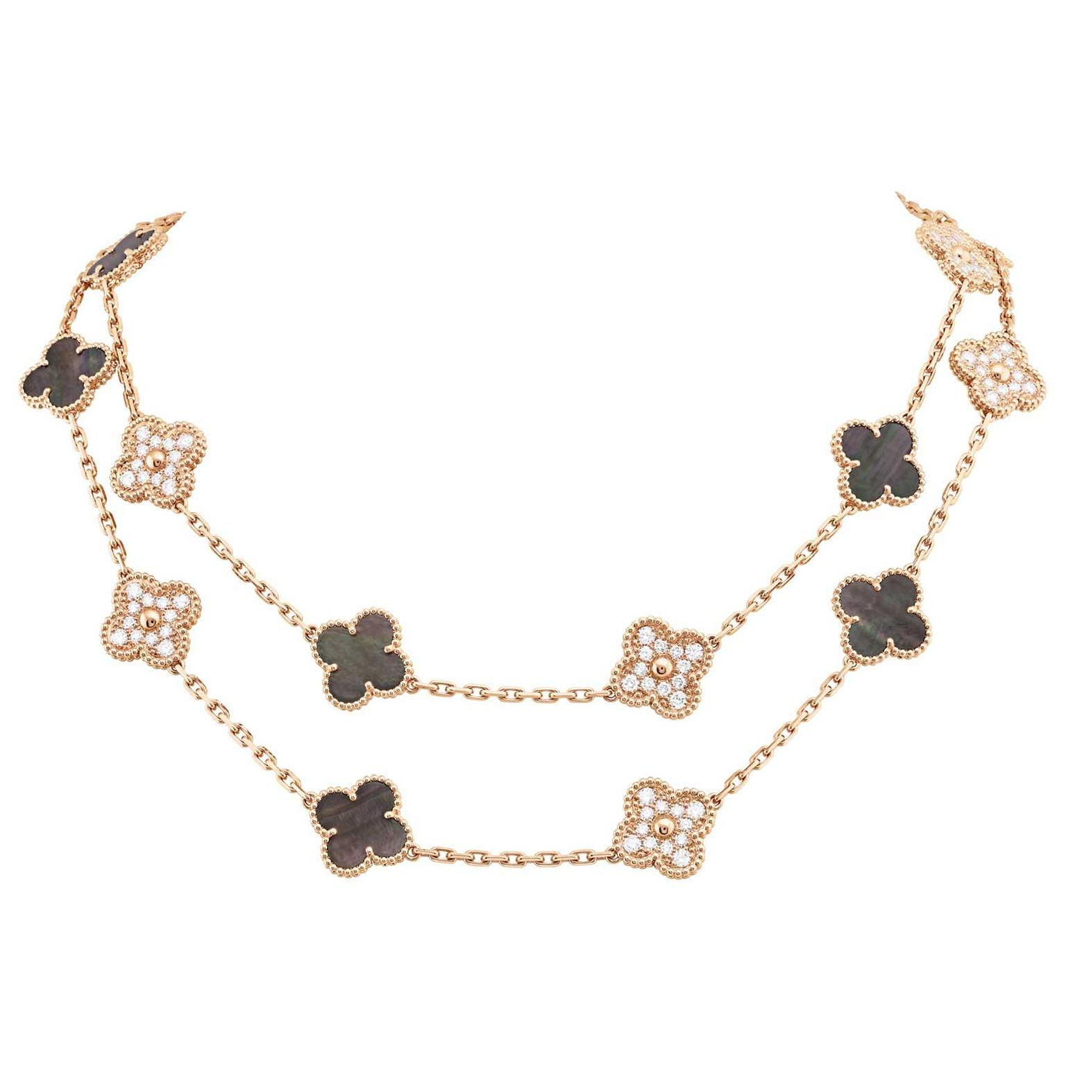 Van Cleef Arpels 50th anniversary Vintage Alhambra necklace in grey mother of pearl