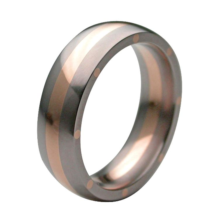 Stephen Einhorn titanium and rose gold GEO Elipse ring