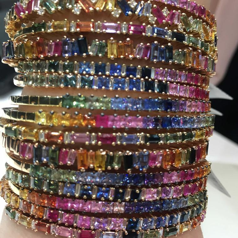 Independent jewellers also have their place at the Doha Jewellery and Watch Exhibition such as Los Angeles based Suzanne Kalan who upped the colour factor with her Rainbow Fireworks bangles seen at DJWE