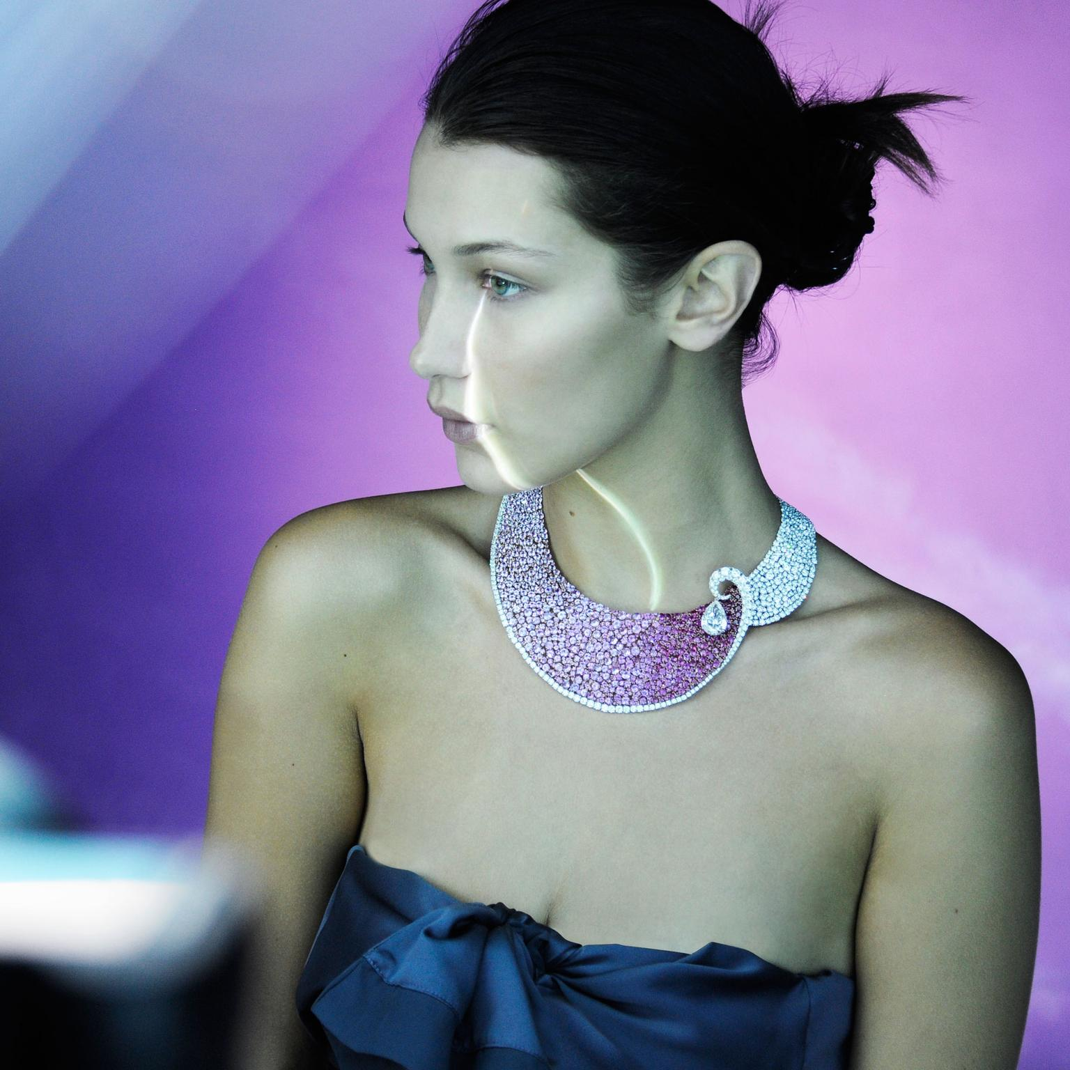 Bella Hadid wearing Boghossian Les Merveilles ruby, pink sapphire and diamond Meche necklace