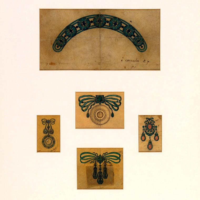 Designs for tiara and brooches by Cartier circa 1900s