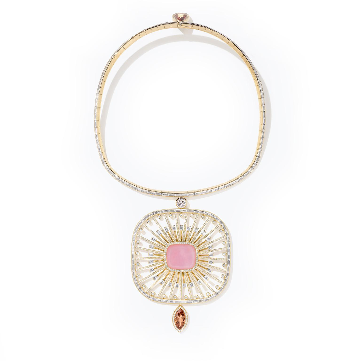 Hermès' Attelage Céleste pink opal pendant from the HB-IV Continuum collection