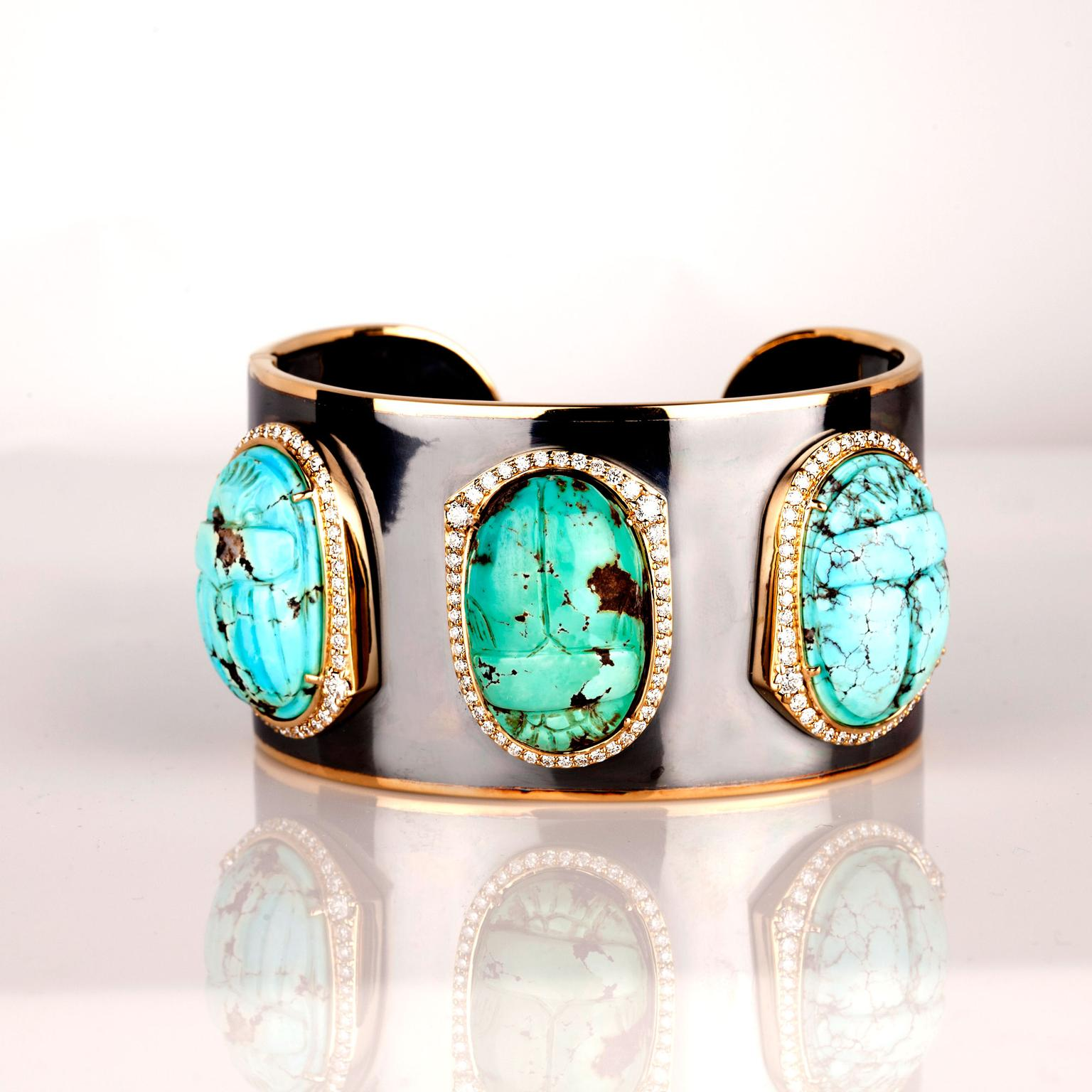 Sylva & Cie Scarab turquoise and diamond bracelet