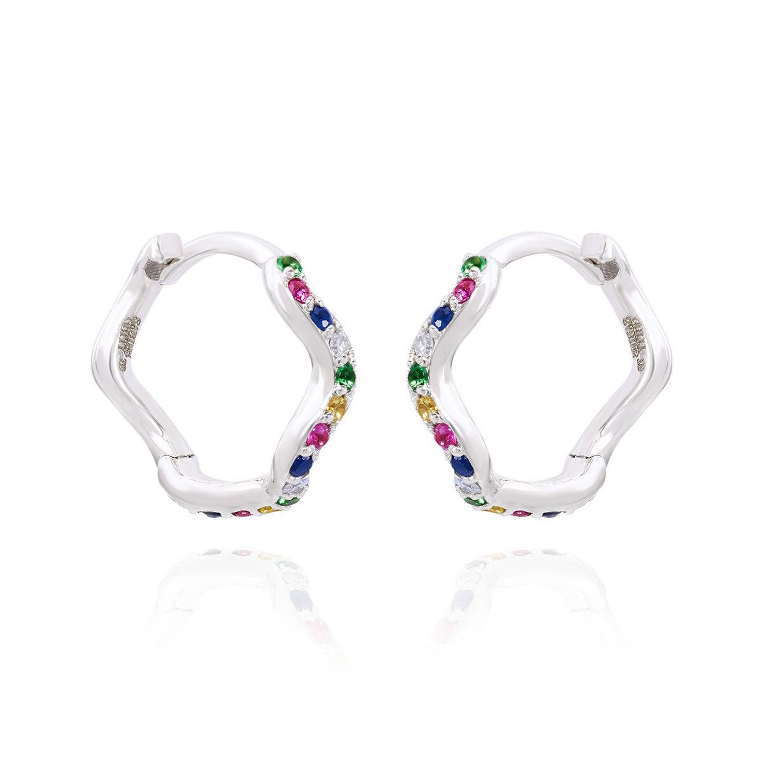 Sabine Getty Baby Memphis Wave Huggie Hoops with multi-coloured gemstones