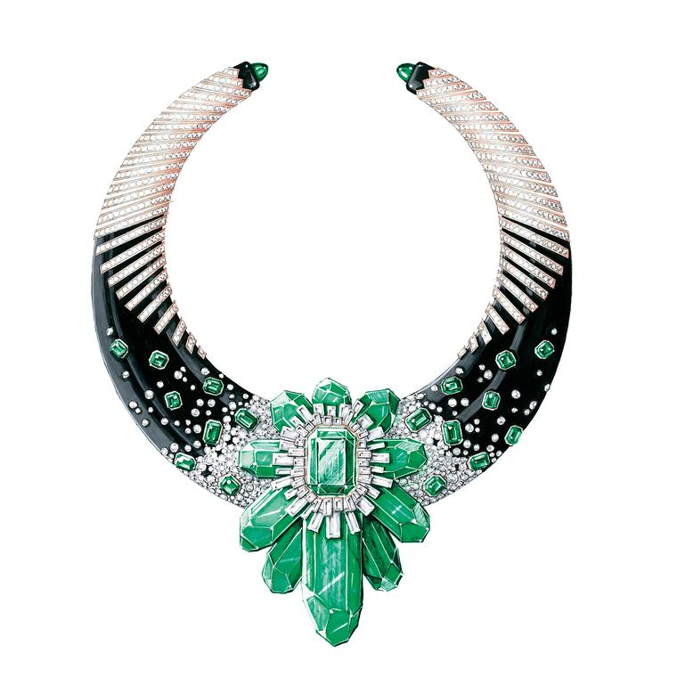 Watercolor drawing Antoine Sandoz Muzo Emerald necklace