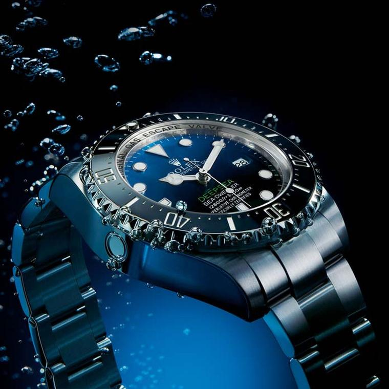 The new Rolex Deepsea D-Blue Dial watch also boasts an innovative Chromalight display on the dial, which allows the indices, hands and zero marker on the bezel to glow with a supernatural blue light for twice as long as standard luminescent materials.