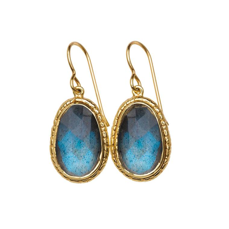 Blue labradorite drop earrings in yellow gold