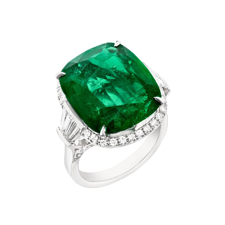 11.44ct cushion-cut emerald ring