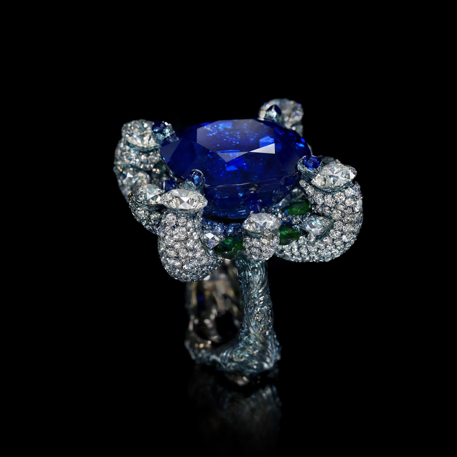Wallace Chan Beauteous Days sapphire ring in blue titanium
