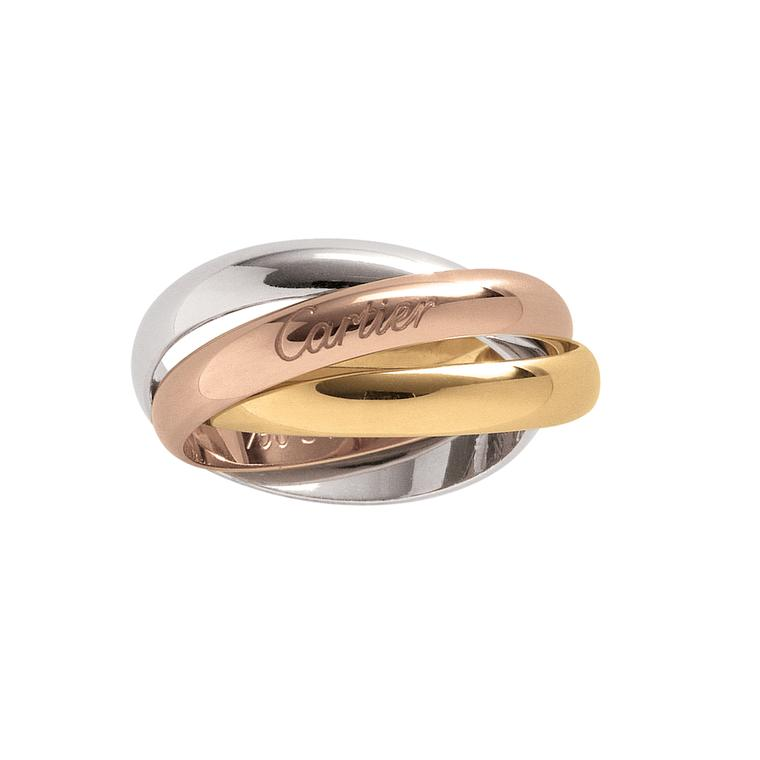 Trinity ring in pink, white and yellow gold