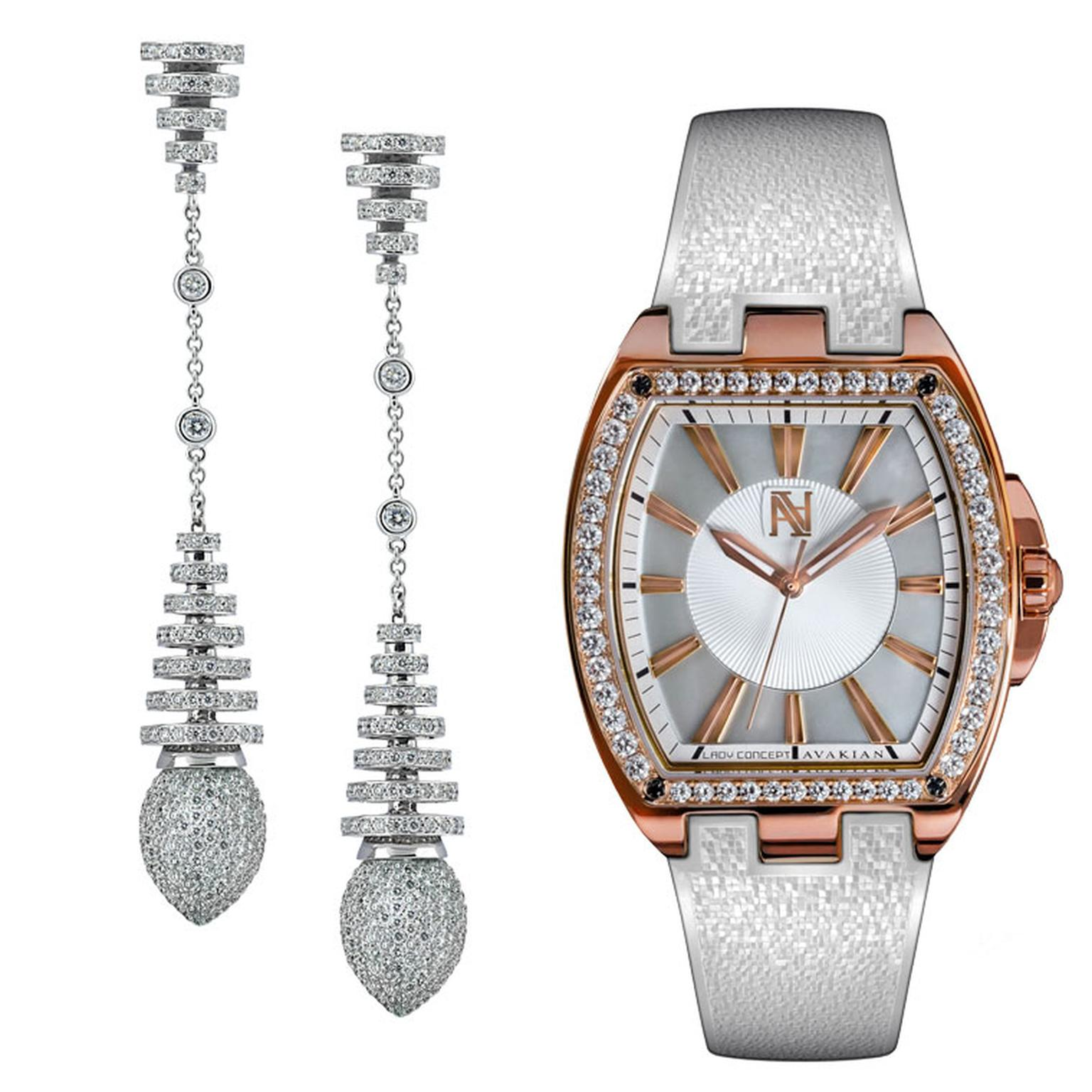Avakian Lady Concept watch and Riviera collection earrings