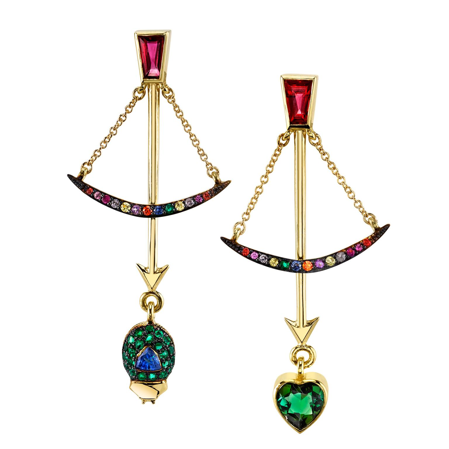 Daniela Villegas Follow Your Arrow multicolored gemstone earrings