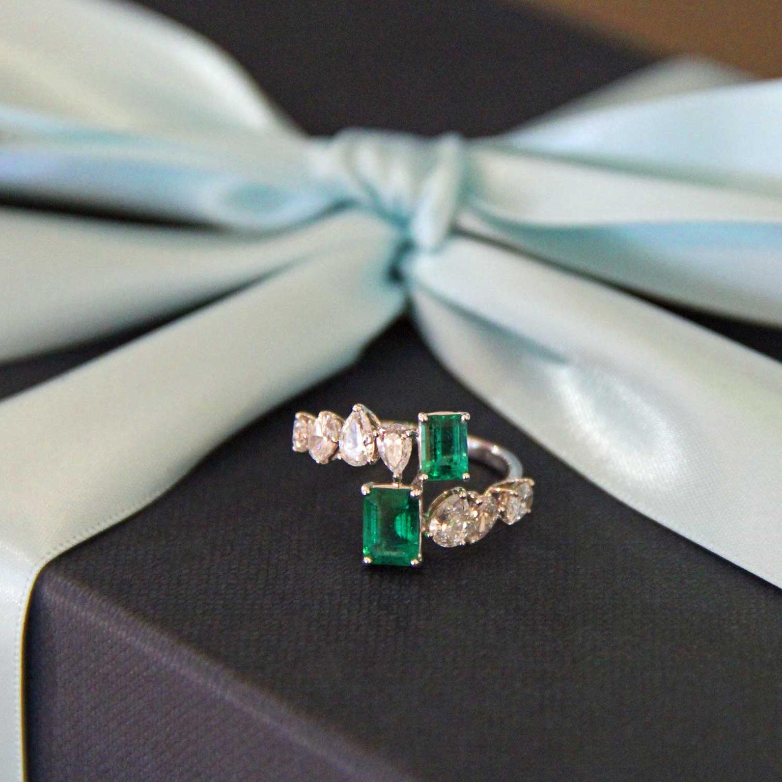 William & Son MYA emerald and diamond ring