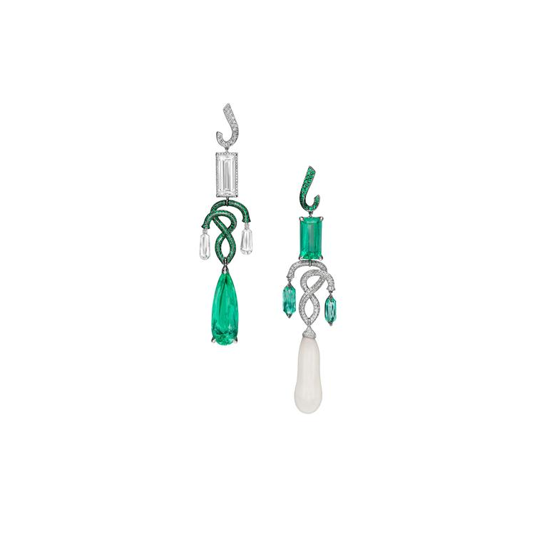 Boghossian clam pearl, emerald and diamond earrings