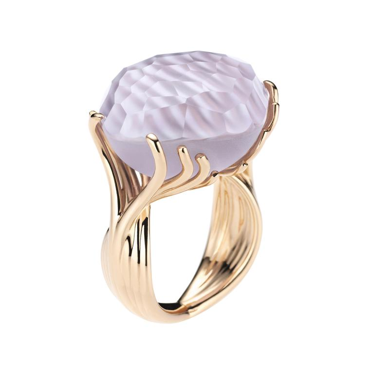 BY KIM Passiflora three-dimensional amethyst ring