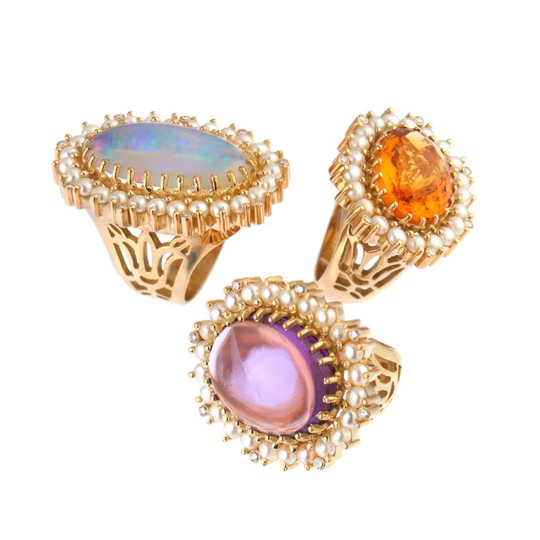 Azza Fahmy Lotus Rings Green Opal Amethyst Lemon Topaz Stones Diamonds Pearls