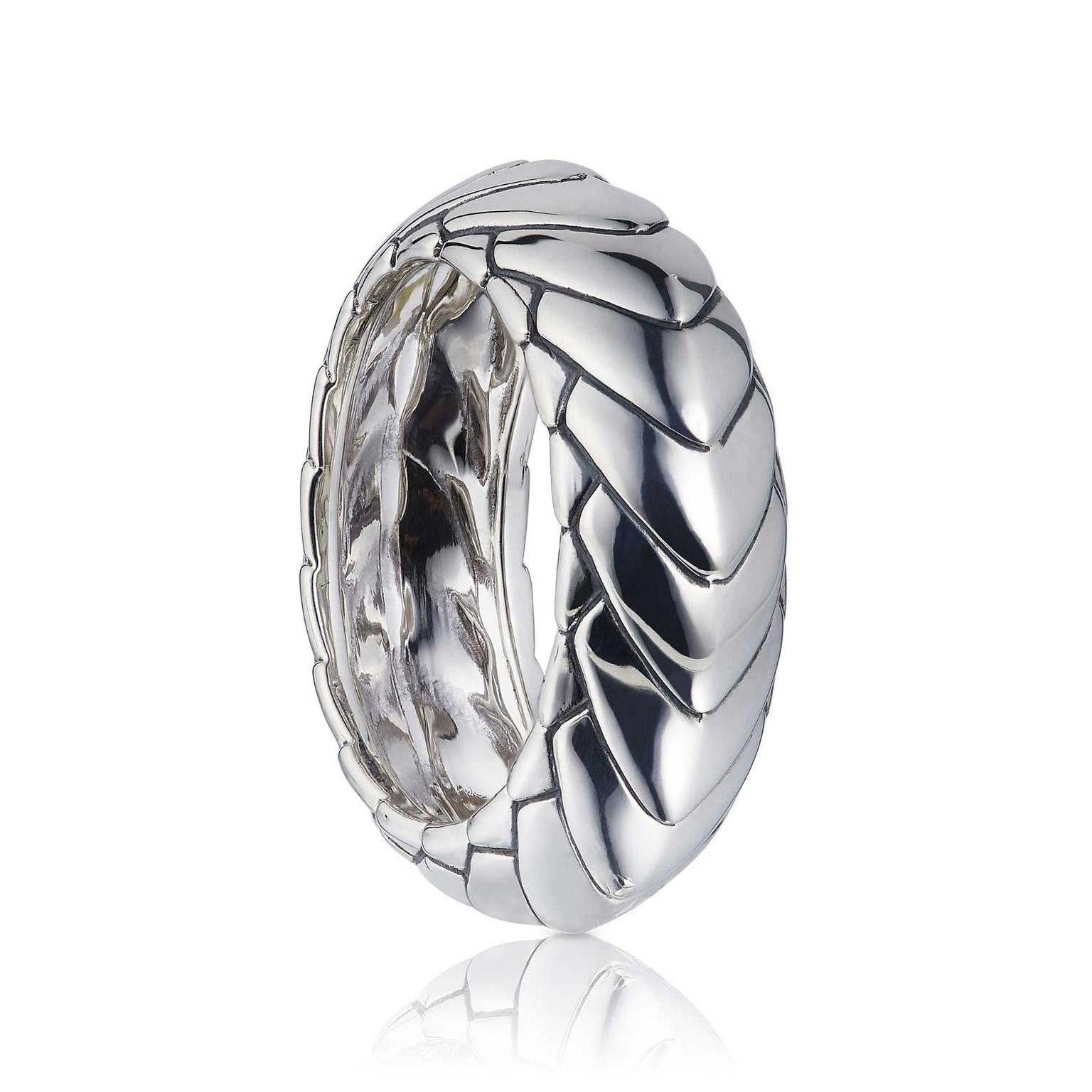 Patrick Mavros Pangolin Armour ring in silver