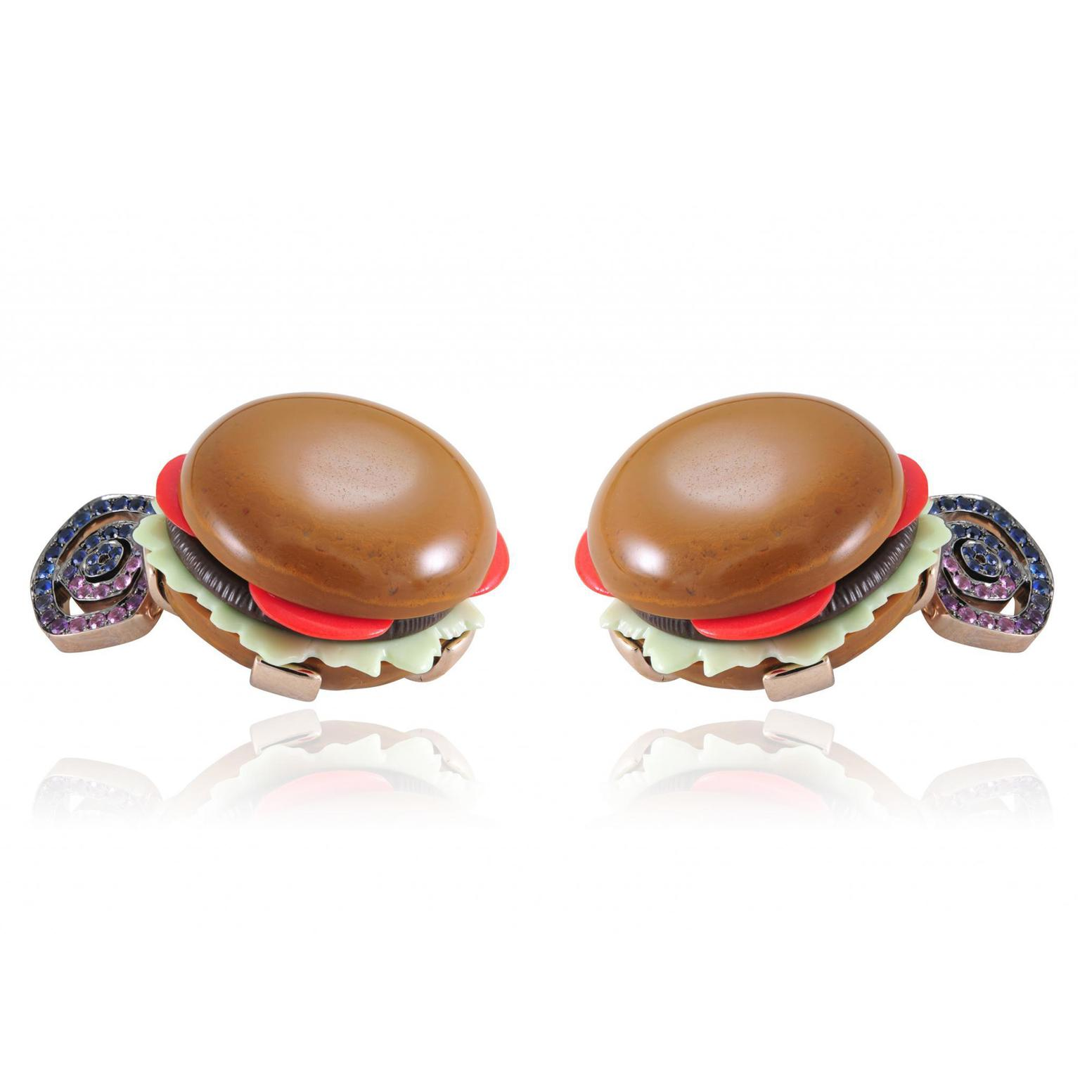 Lydia Courteille Burger cufflinks