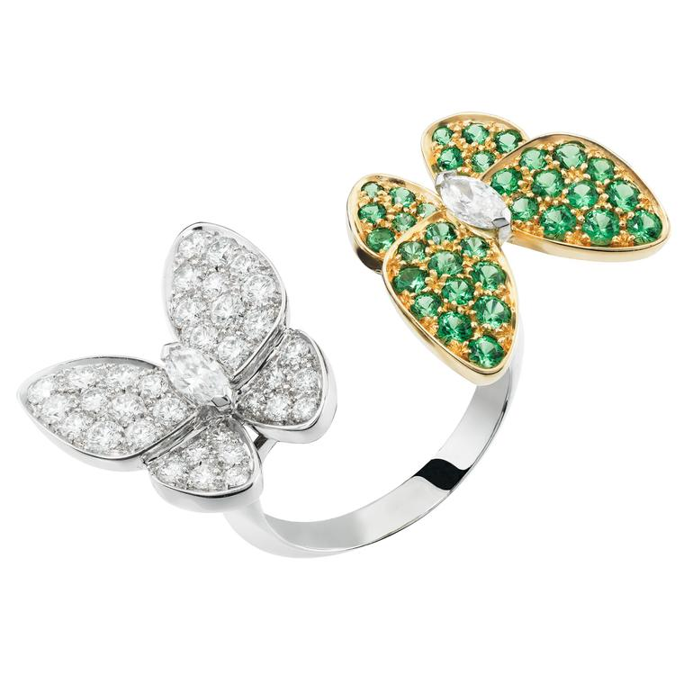 Van Cleef & Arpels Two Butterfly tsavorite ring