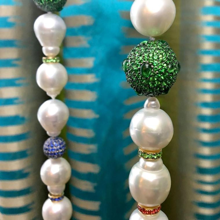 Margot McKinney baroque pearl necklace with coloured gemstone planets