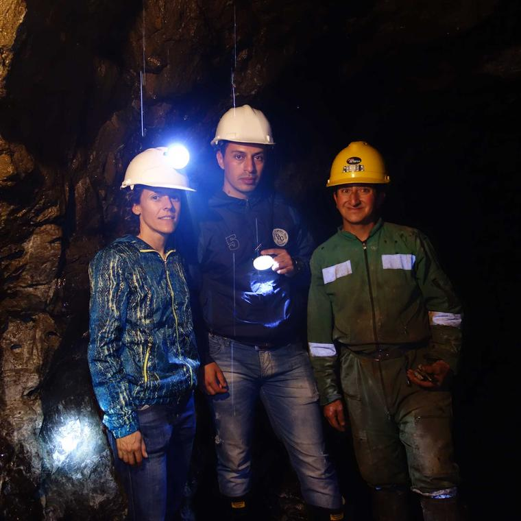 Arabel Lebrusan inside a Fairmined gold mine in Colombia