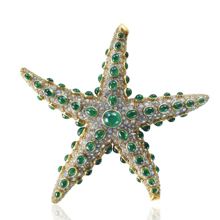 René Boivin emerald and aquamarine starfish brooch estimate: $70,000 -  $100,000