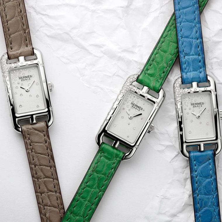 Trio of Hermès Nantucket Jeté de diamants watches