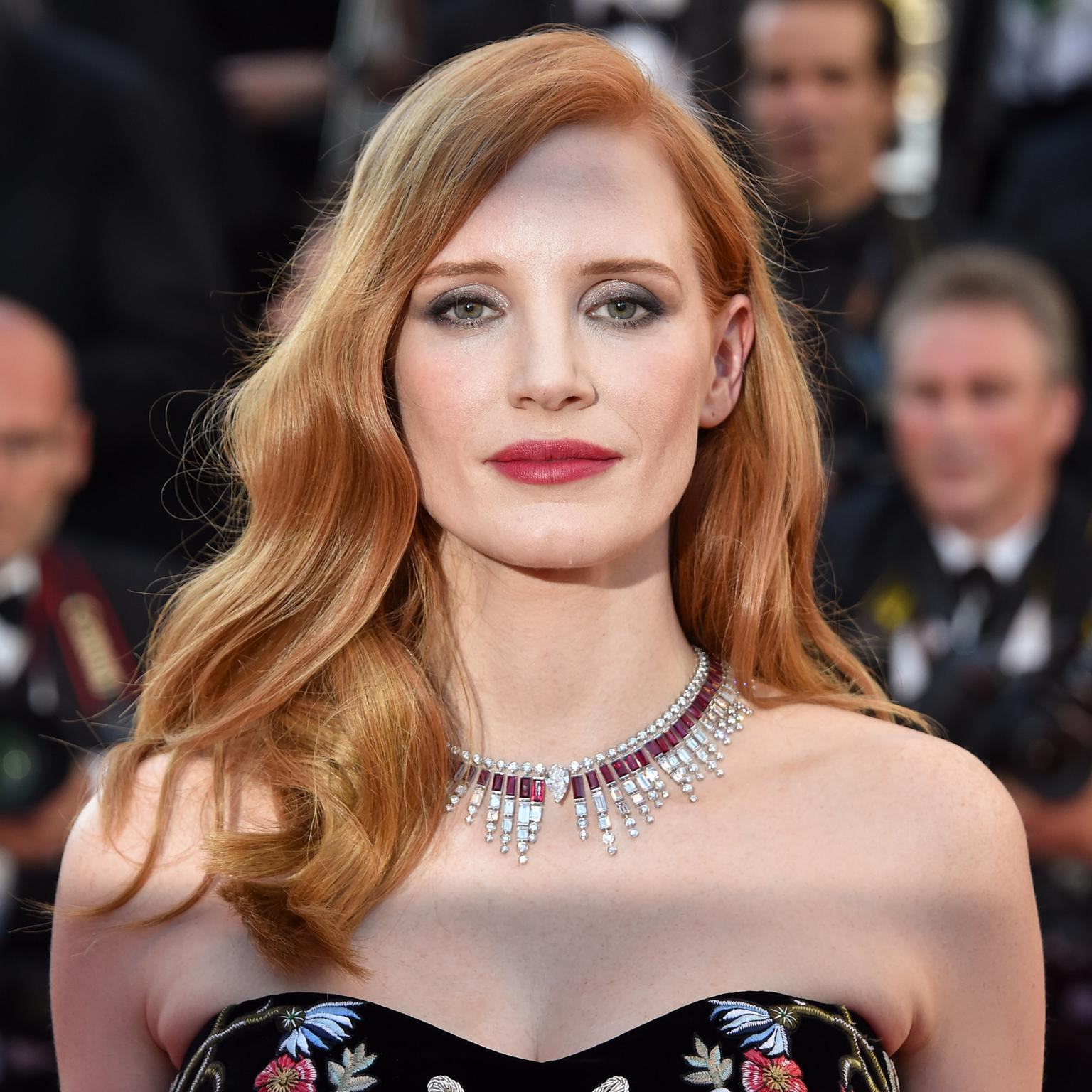 Jessica Chastain in Piaget high jewellery necklace at the Cannes Film Festival 2017