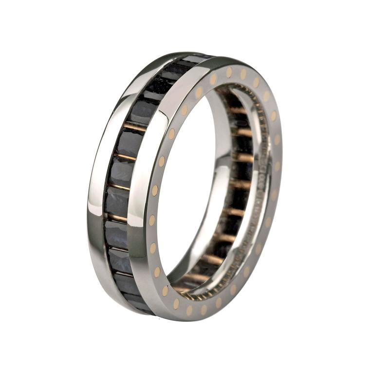 Stephen Einhorn GEO Elipse gold and black diamond wedding band