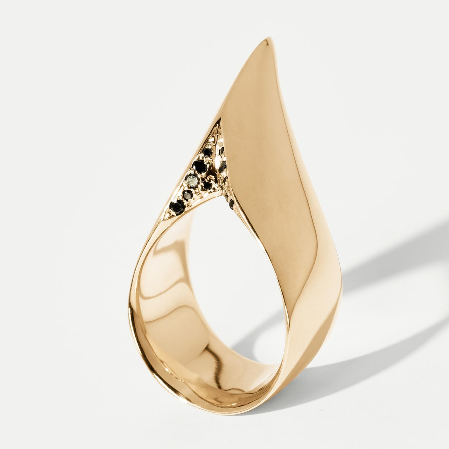 Hannah Martin Spur Yellow Gold Ring Pavé