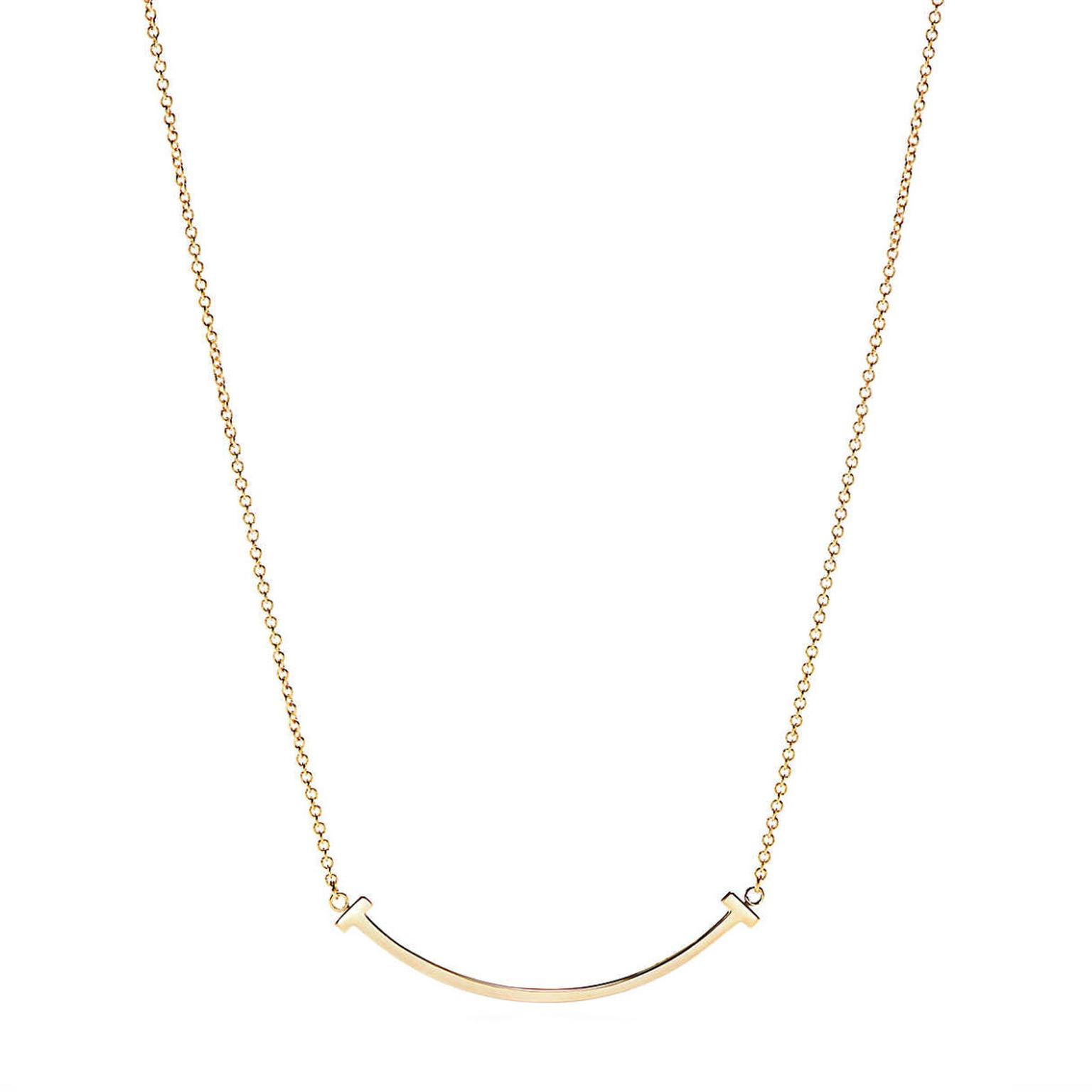 Tiffany T Mini Smile pendant in yellow gold