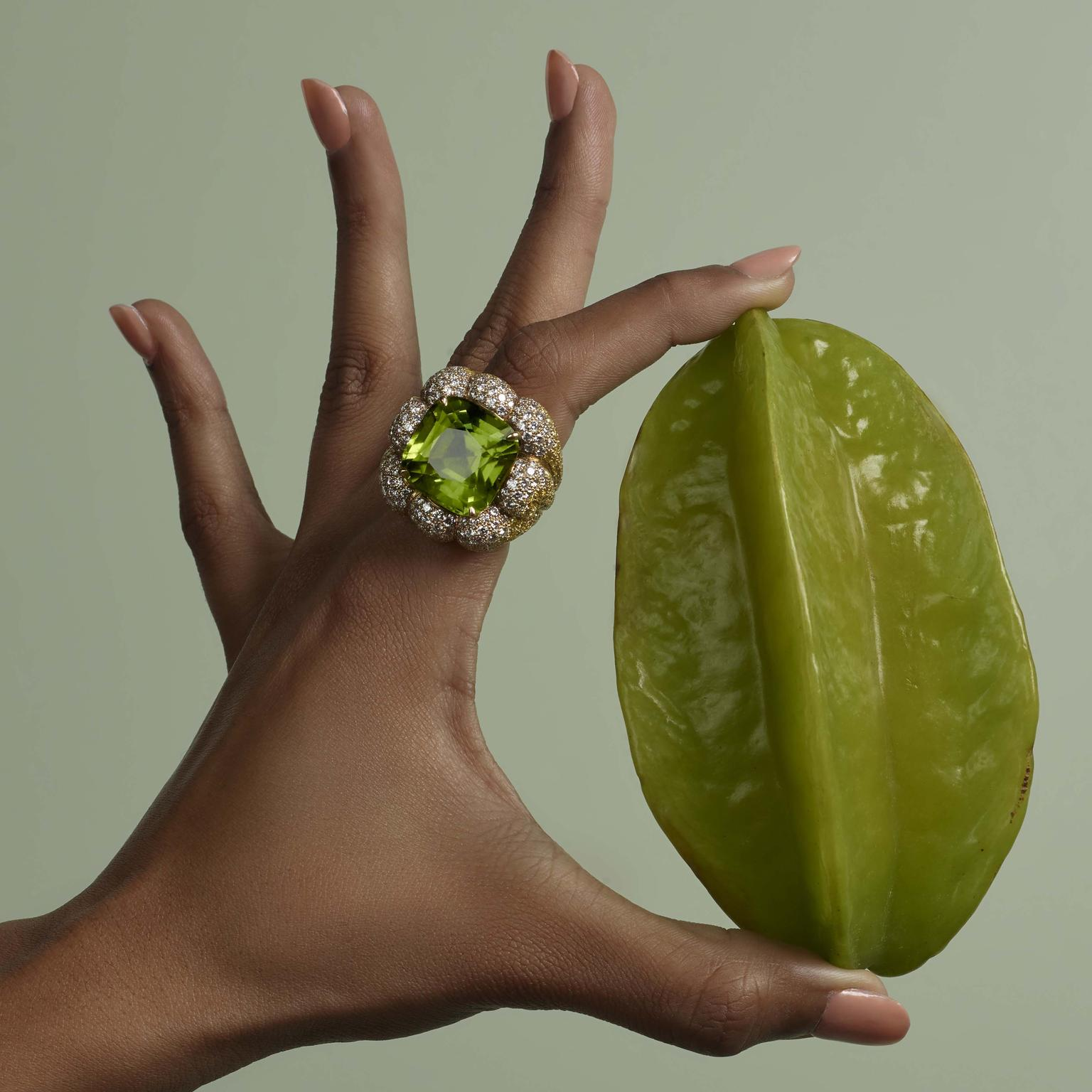 Margot McKinney Peridot and Diamond cocktail ring