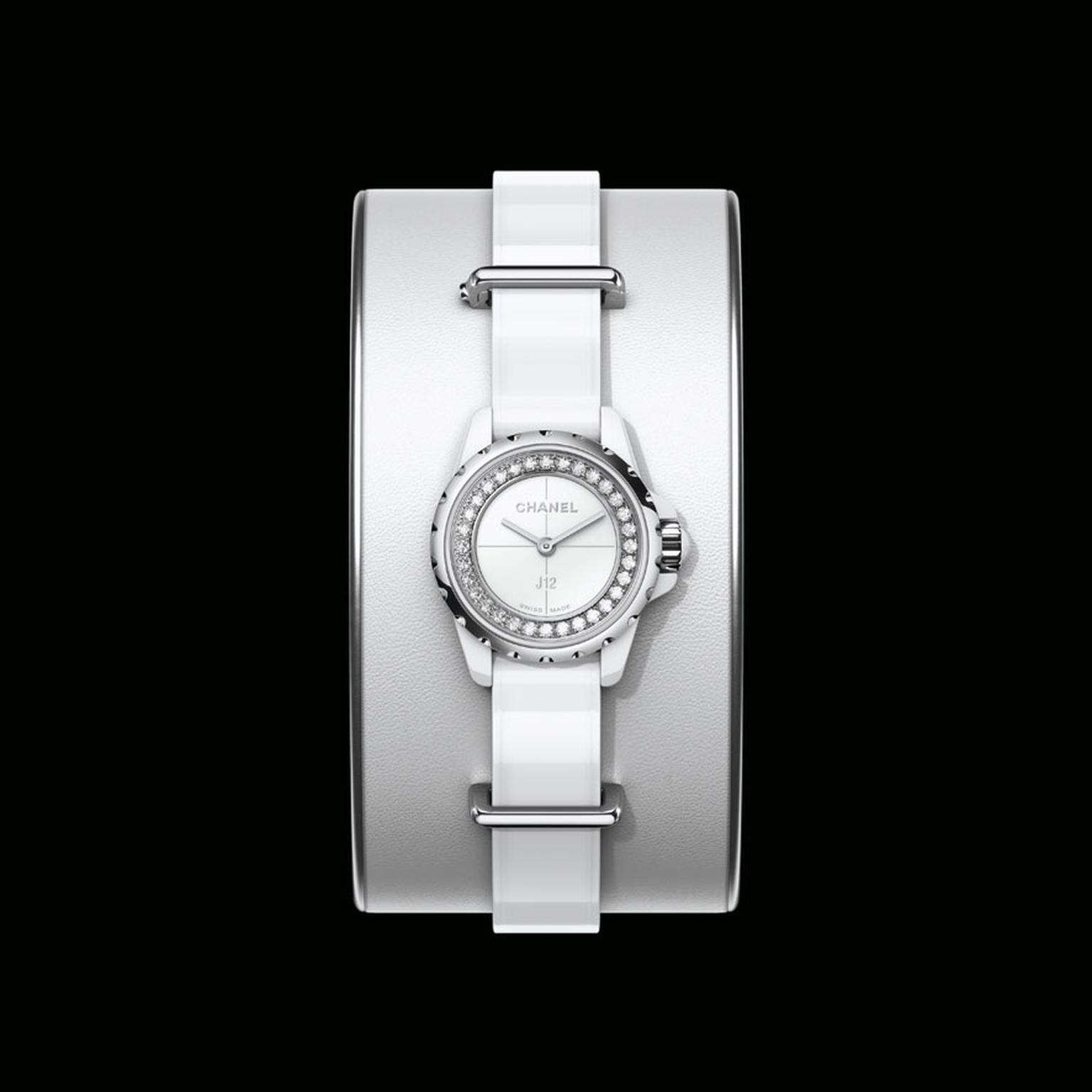 Chanel J12 XS small cuff watch in white