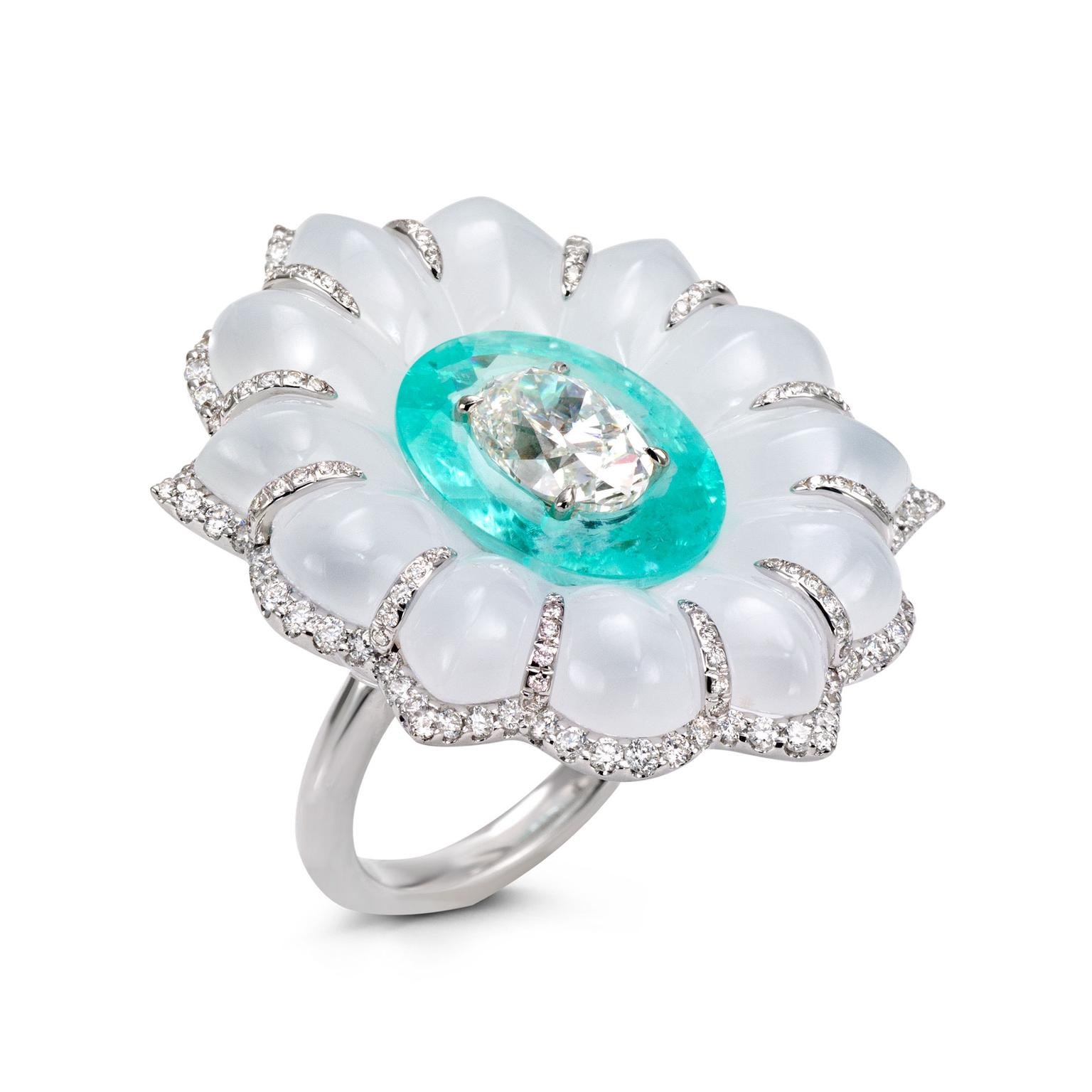 Boghossian Art of Inlay diamond, Paraiba tourmaline and chalcedony ring