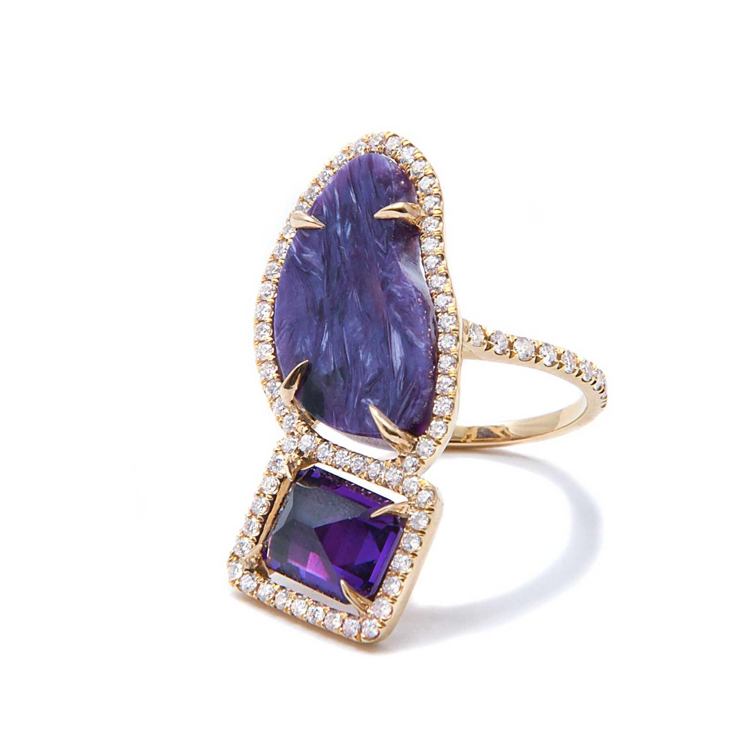 Jordan Alexander amethyst and charoite ring