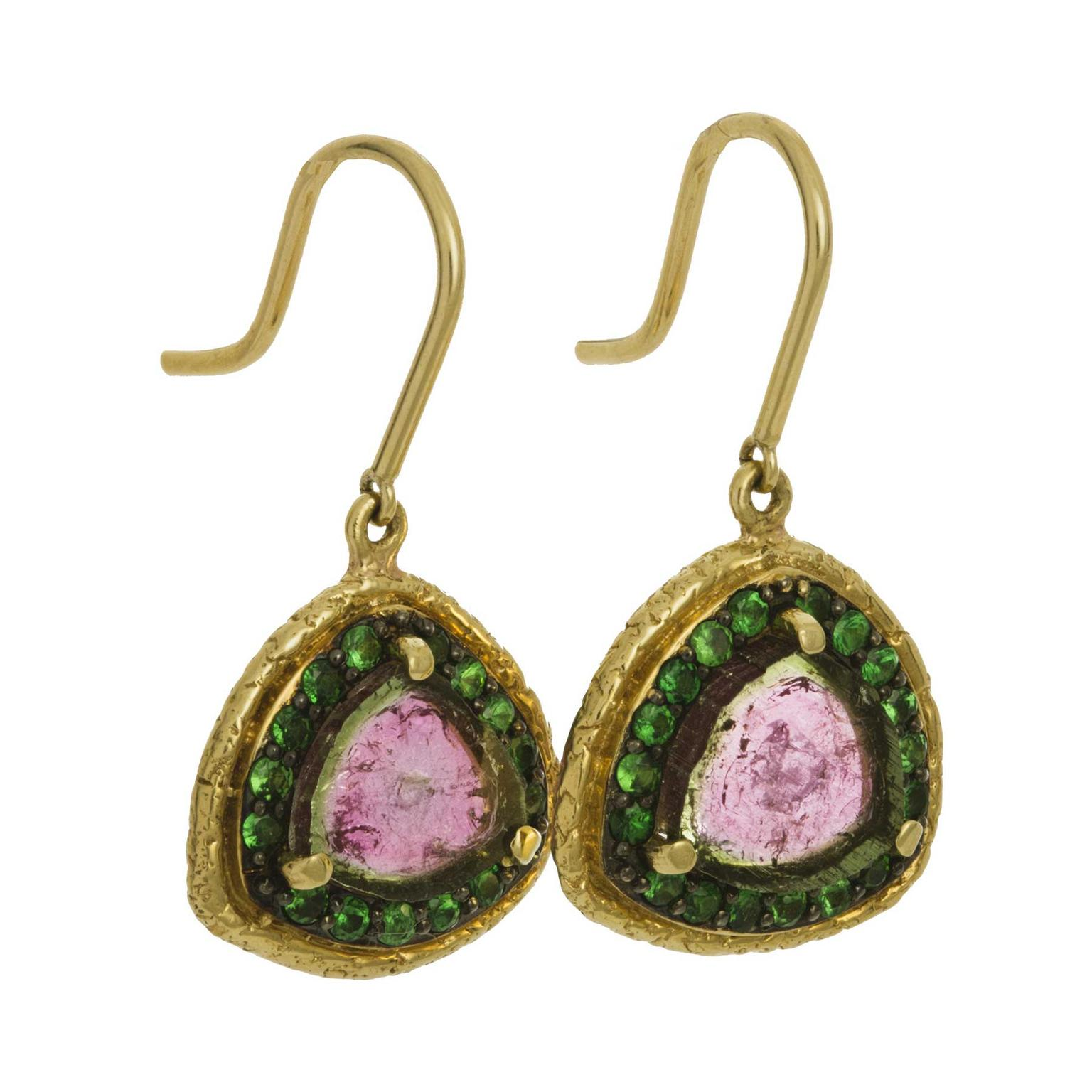 Susan Wheeler Watermelon tourmaline earrings