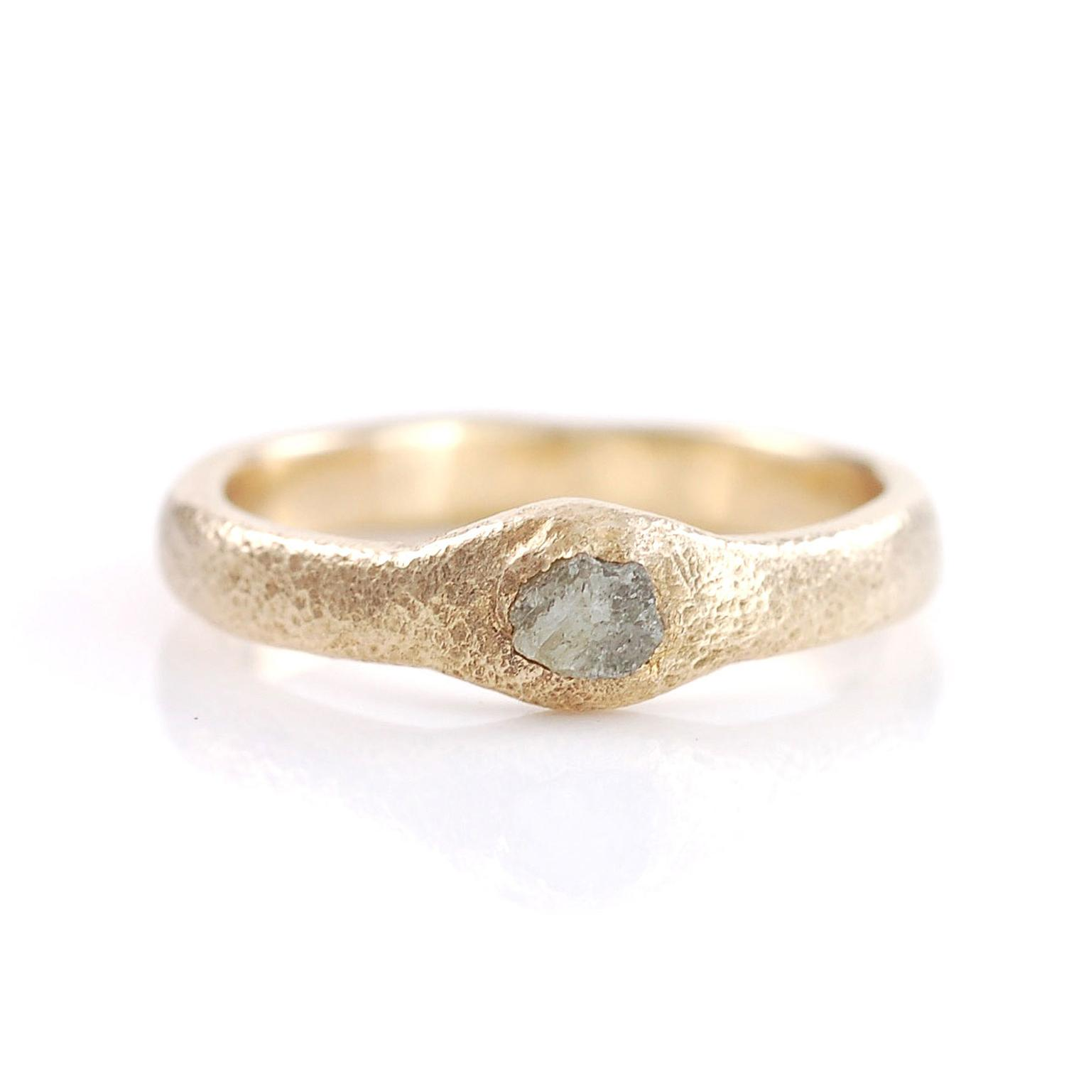 Sands of Time ring by Beth Cyr with a rough grey diamond