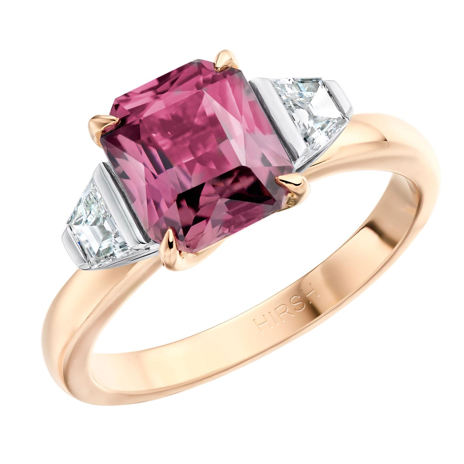 Hirsh Trio purple-brown sapphire engagement ring