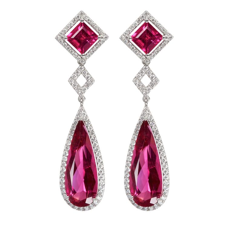 Tayma rubellite earrings in white gold