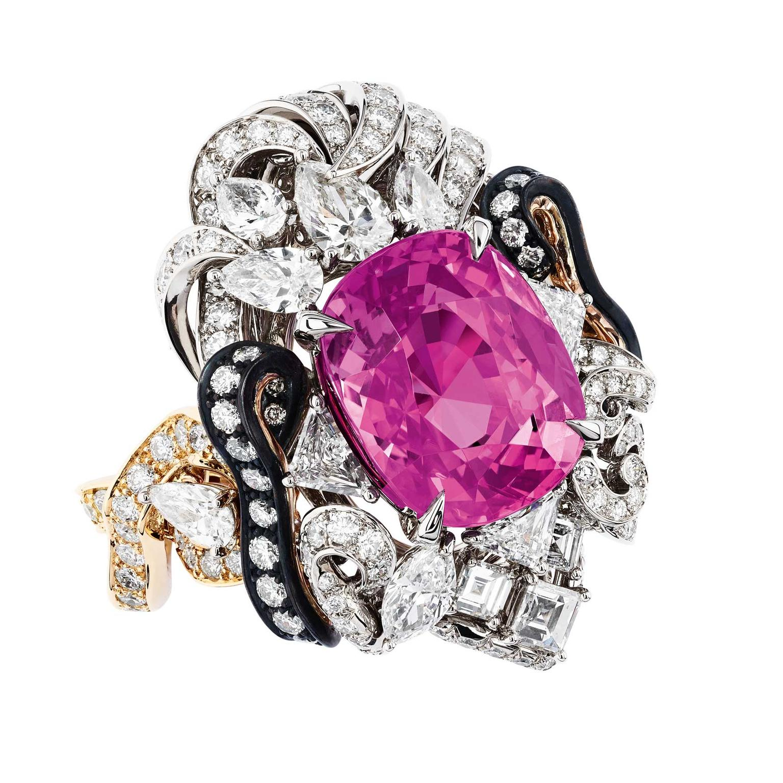 Cushion-cut pink sapphire engagement ring | Fabergé | The Jewellery ...