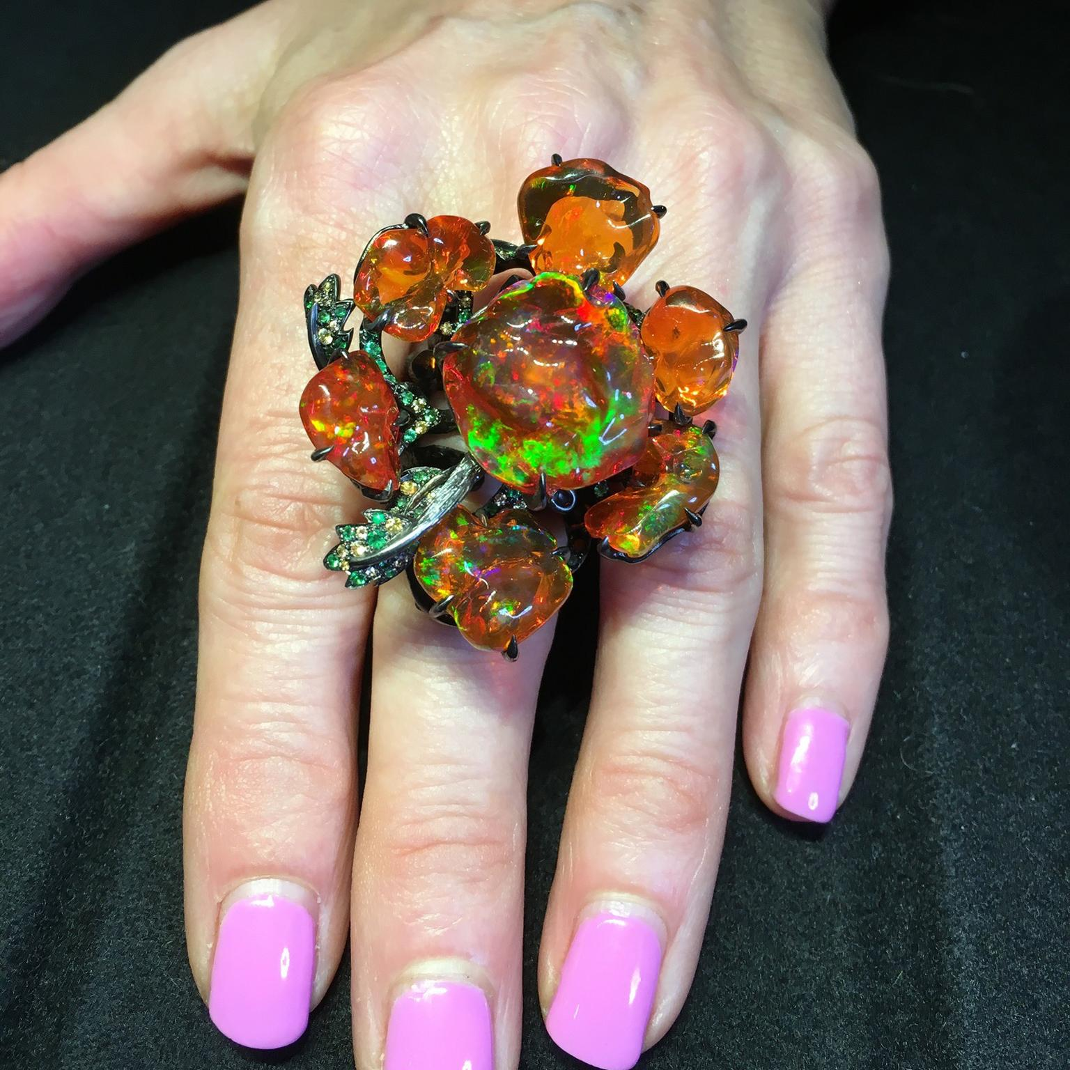 Lydia Courteille fire opal ring from her Gardens of Xochimilco collection