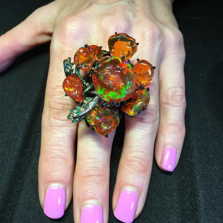 Gardens of Xochimilco fire opal ring