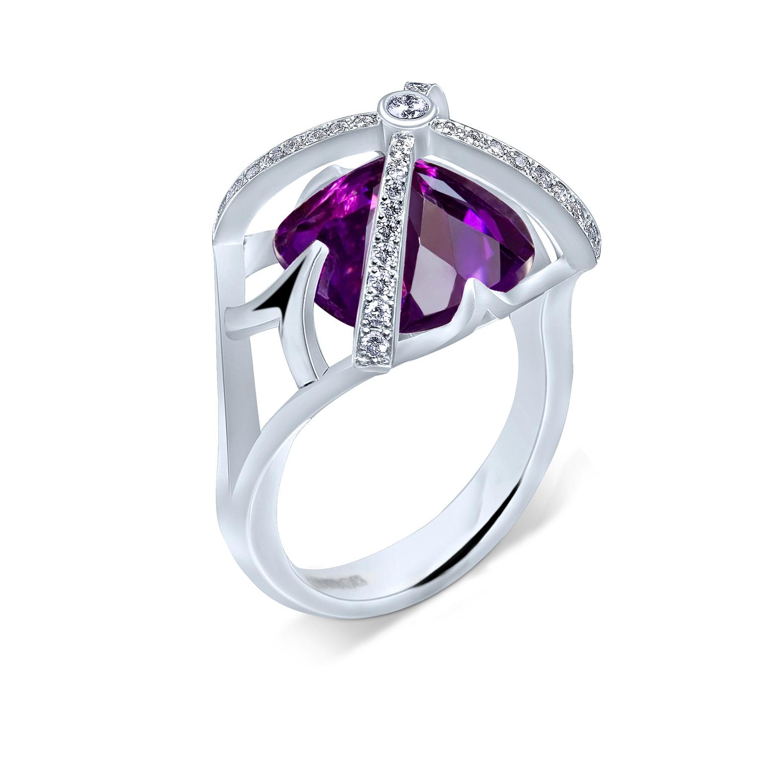 Alexander Davis Dark Romance amethyst ring in white gold