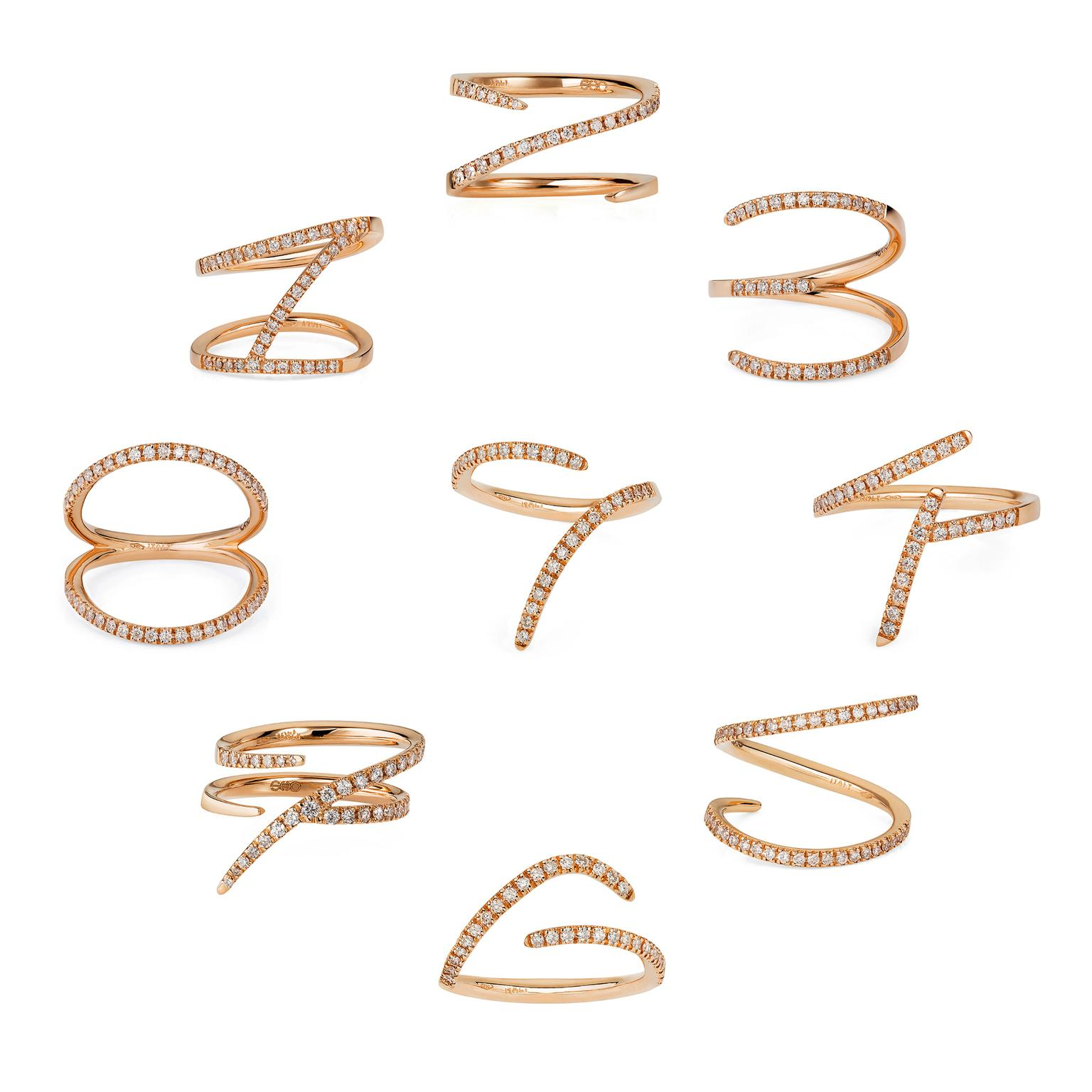 Sarah Ho rose gold and diamond Numerati rings